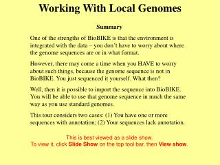 Working With Local Genomes