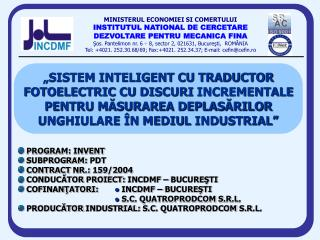 PROGRAM :  INVENT  SUBPROGRAM:  PDT  CONTRACT NR.:  159 /2004