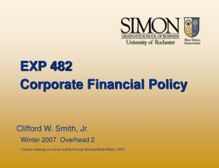 EXP 482 Corporate Financial Policy