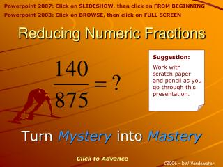 Reducing Numeric Fractions