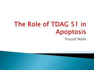 The Role of TDAG 51 in Apoptosis