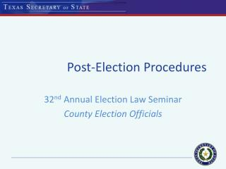 Post-Election Procedures