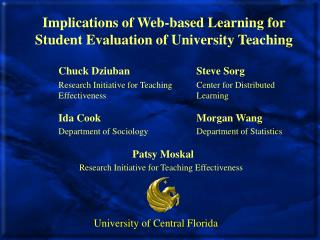 Implications of Web-based Learning for Student Evaluation of University Teaching