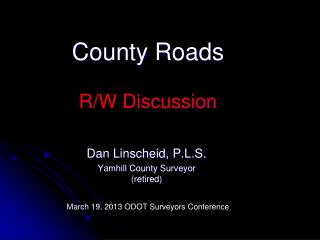 County Roads  R/W Discussion
