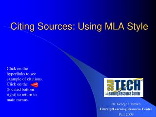 Citing Sources: Using MLA Style