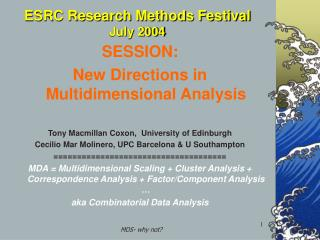 ESRC Research Methods Festival July 2004