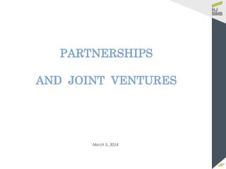 PARTNERSHIPS AND  JOINT  VENTURES
