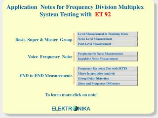 Application  Notes for Frequency Division Multiplex  System Testing with ET 9 2