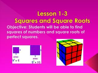 Lesson 1-3  Squares and Square Roots