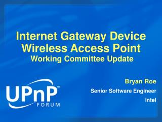 Internet Gateway Device  Wireless Access Point  Working Committee Update