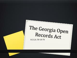 The Georgia Open Records Act