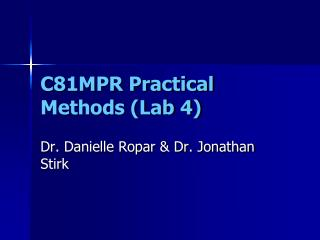 C81MPR Practical Methods (Lab 4)