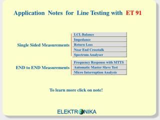 Application  Notes  for  Line Testing with ET 91