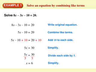 Solve an equation by combining like terms
