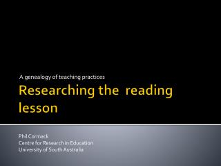 Researching the  reading lesson