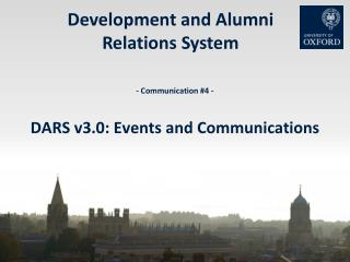 - Communication #4 - DARS v3.0: Events and Communications