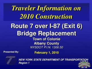 NEW YORK STATE DEPARTMENT OF TRANSPORTATION Region 1