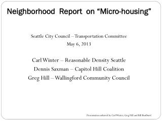 "Neighborhood  Report  on ""Micro-housing"""