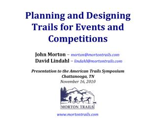 Planning and Designing Trails for Events and Competitions