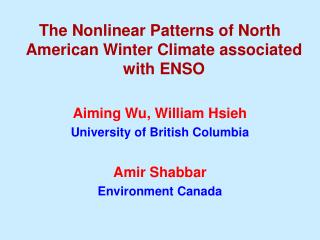 The Nonlinear Patterns of North American Winter Climate associated with ENSO