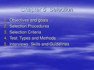 Chapter 5  Selection