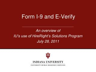 Form I-9 and E-Verify