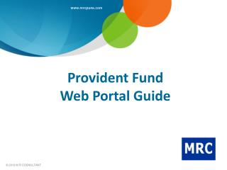 Provident Fund  Web Portal Guide