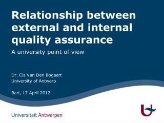 Relationship between external and internal quality assurance