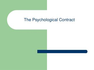 The Psychological Contract