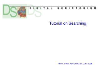 Tutorial on Searching