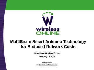 MultiBeam Smart Antenna Technology for Reduced Network Costs