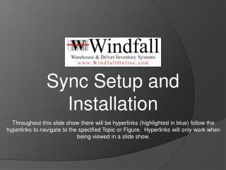 Sync Setup and Installation