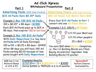 Example 1:  Buy 100 $10 Ad Packs 100 x $0.20 *  x 88 days =  $1500