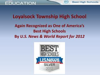 Loyalsock Township High School  Again Recognized as One of America's Best High Schools