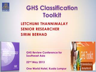 Letchumi Thannimalay Senior Researcher SIRIM  Berhad