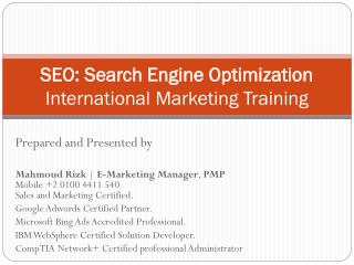 SEO: Search Engine Optimization International Marketing Training