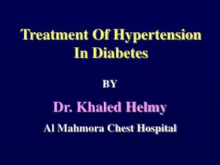 Treatment Of Hypertension In Diabetes