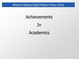 Achievements In Academics