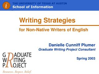 Writing Strategies  for Non-Native Writers of English