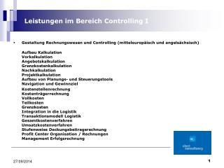 Gestaltung Rechnungswesen und Controlling (mitteleuropäisch und angelsächsisch)