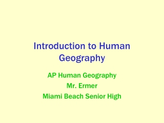 Introduction to Human Geography