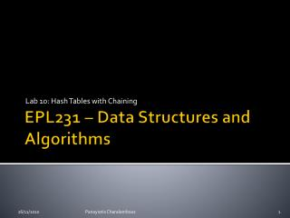 EPL231 – Data Structures and Algorithms