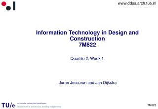 Information Technology in Design and Construction 7M822