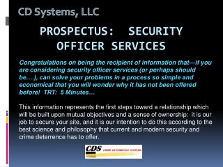 Prospectus:  security officer services
