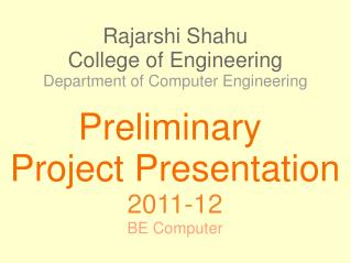 Rajarshi Shahu College of Engineering Department of Computer Engineering