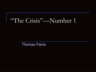 """The Crisis""—Number 1"