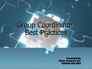 Group Coordinator   Best Practices
