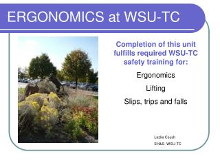 ERGONOMICS at WSU-TC