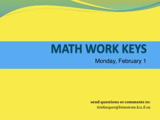 MATH WORK KEYS