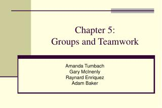Chapter 5: Groups and Teamwork